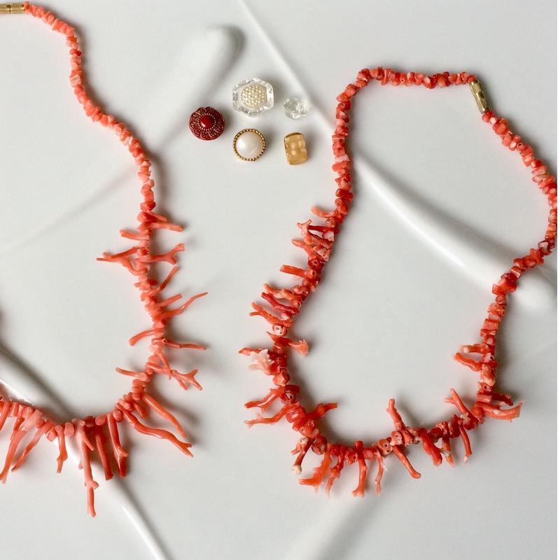 珊瑚のネックレス(珊瑚ショートタイプ)1970年代フランスデッドストック