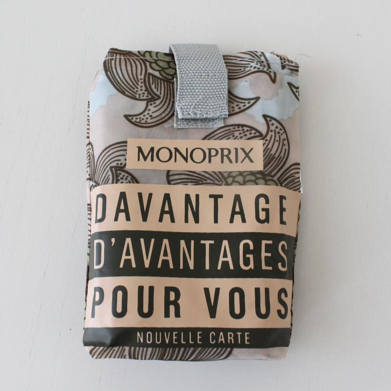 【限定2個】パリのスーパーMONOPRIX エコバッグ ベージュ大花柄