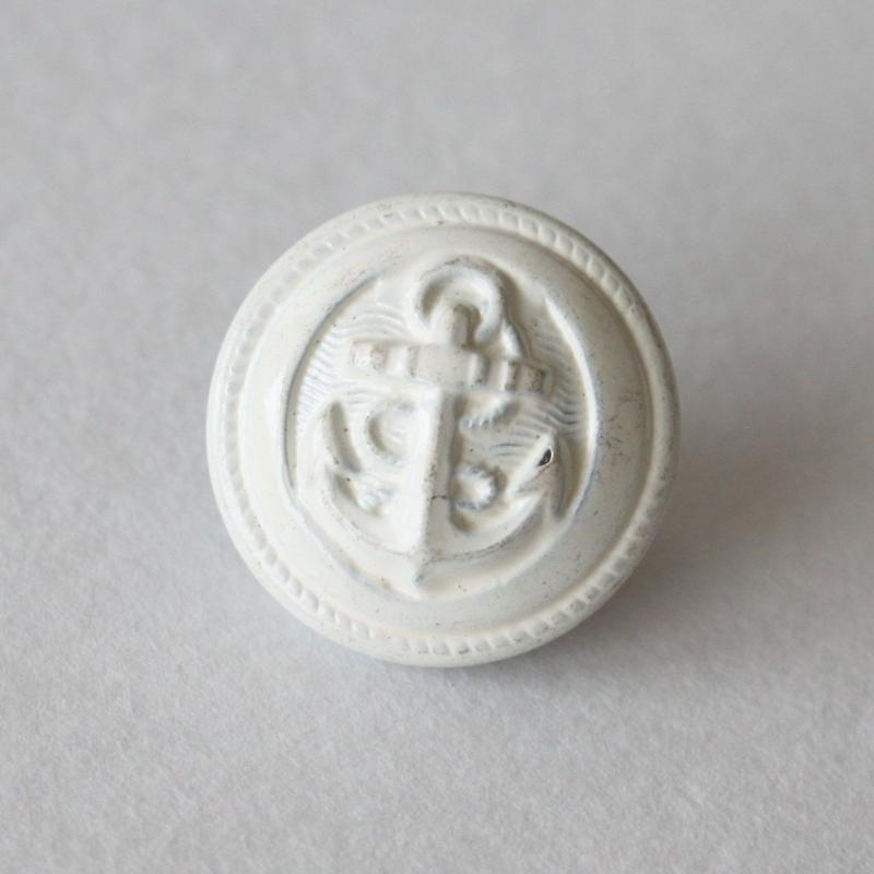 アンカーボタン メタルwhite 1穴14mm フランスヴィンテージボタン