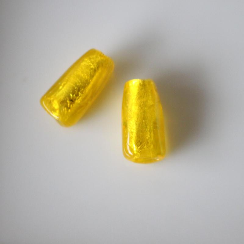 フランスヴィンテージガラスビーズ 1.7㎝ 円柱形(黄)フランスビーズ