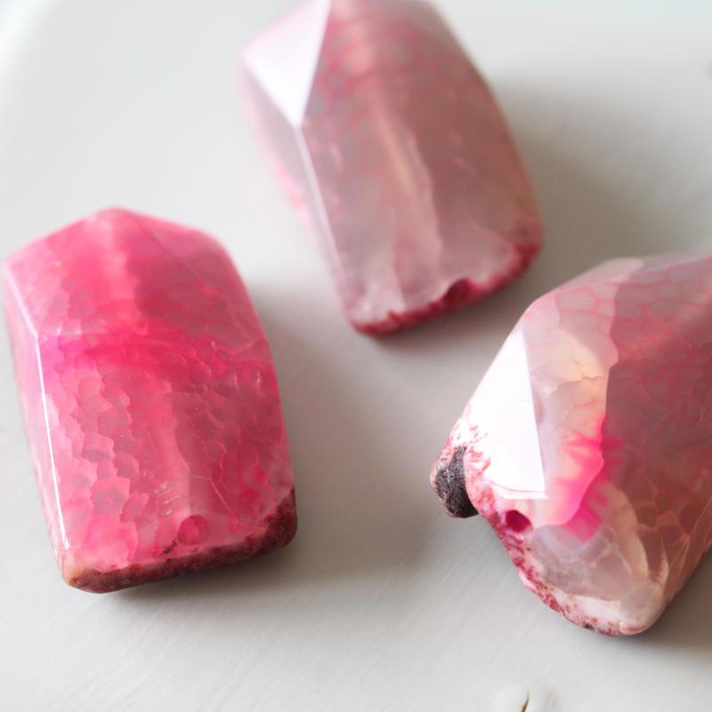天然石ビーズ(Crack agate)長方形3㎝  フランス 直輸入