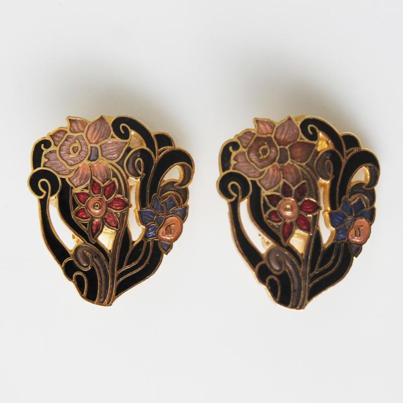 七宝 花束のイヤリング〈フランス1980年代デッドストック〉