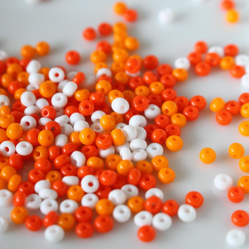 シードビーズ 丸大8(orange mix)4g チェコガラス フランスヴィンテージ