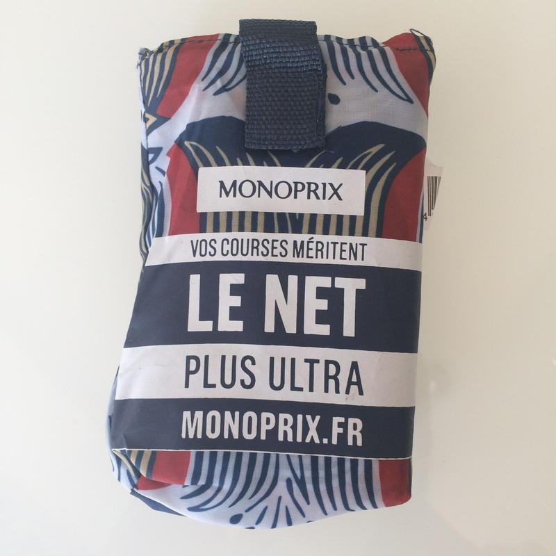 新柄 パリのスーパーMONOPRIX エコバッグ ライン花ブルー