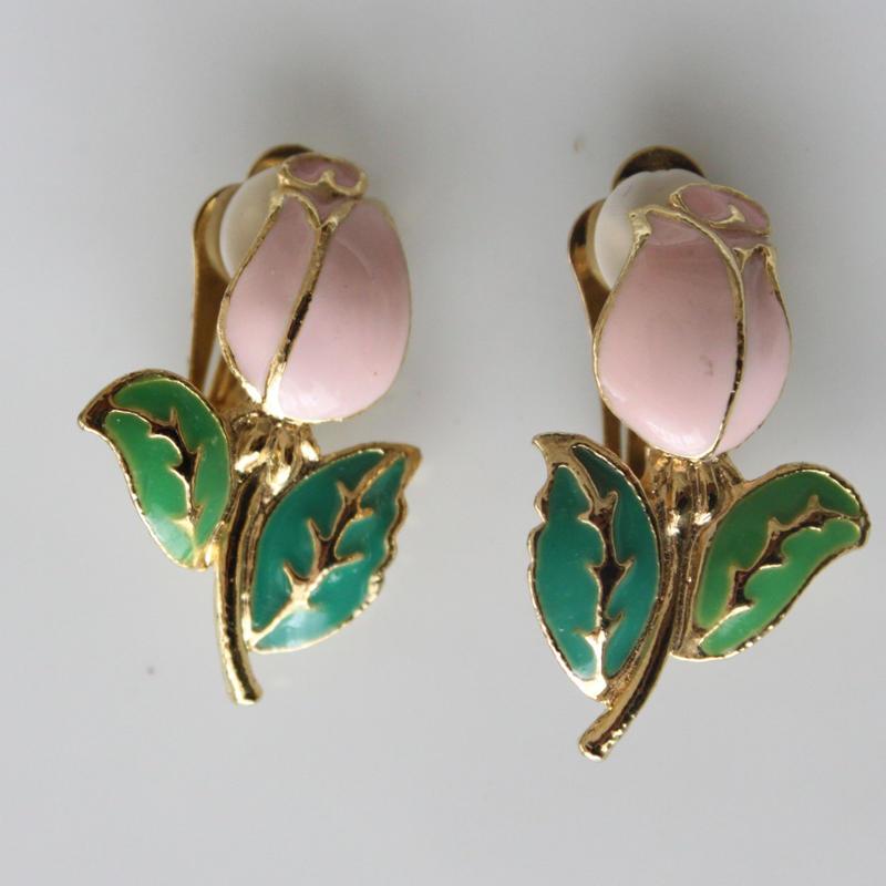 ピンクのお花のイヤリング〈フランス1980年代デッドストック〉