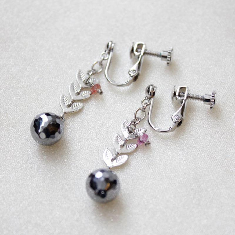 ピンクサファイヤxテラミラーのイヤリング