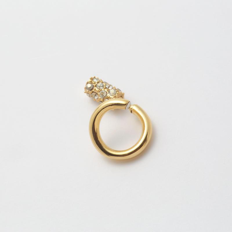 Gold line pierce(8㎜ line/Vertical type/swarovski elements/Gold catch)