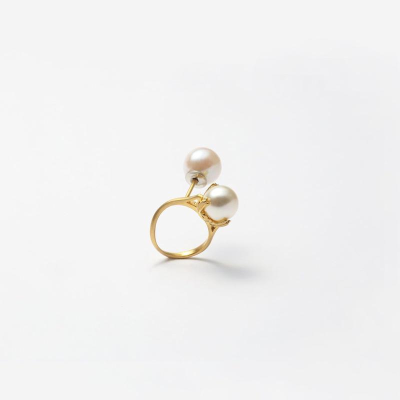 ring motif pierce (pearl / gold)