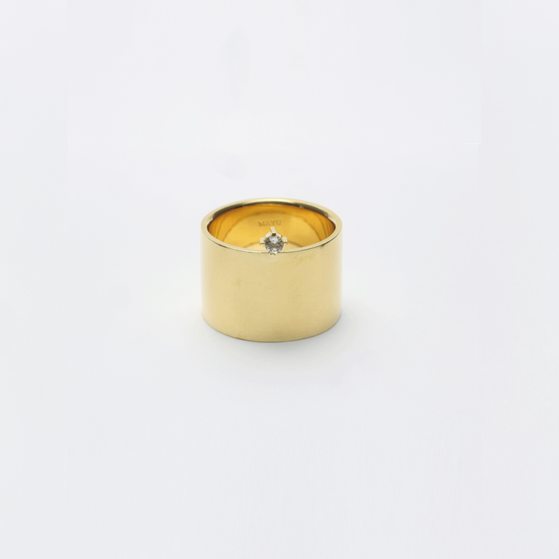 ring motif point ring (cubic zirconia / gold)