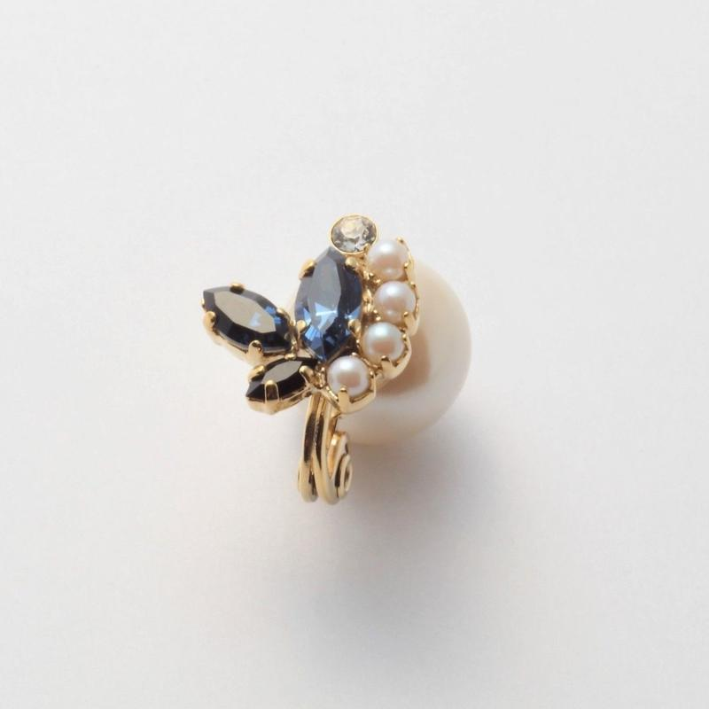 bijoux  3 crystals , pearl earring (Indigo Blue , Pearl Mix)