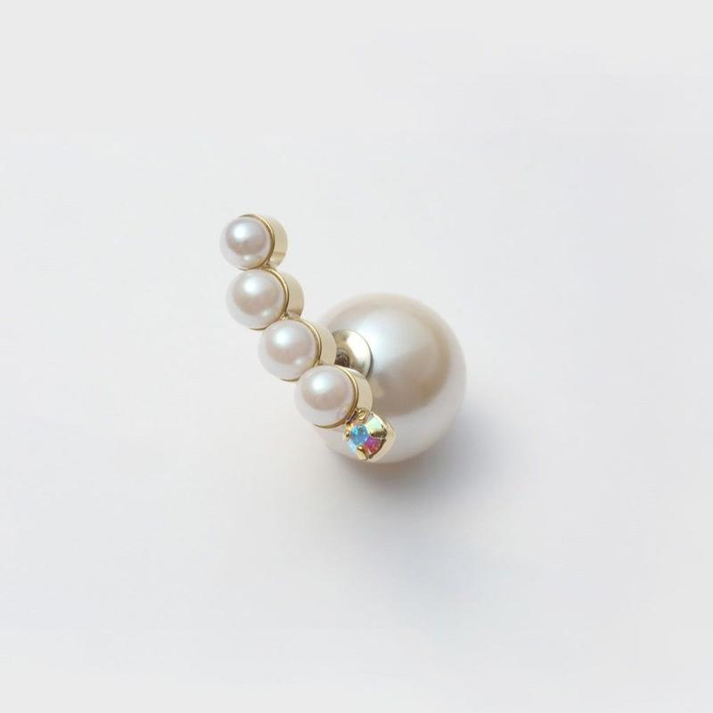 bijoux pierce (4 pearls×swarovski / white)