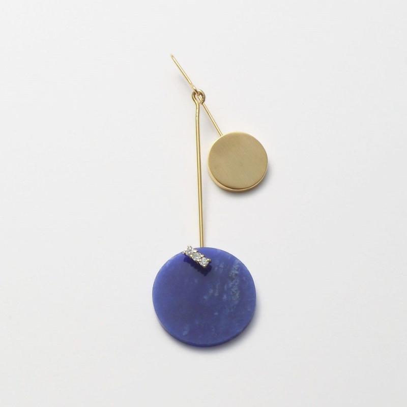 23mm sodalite / k10 post pierced earring