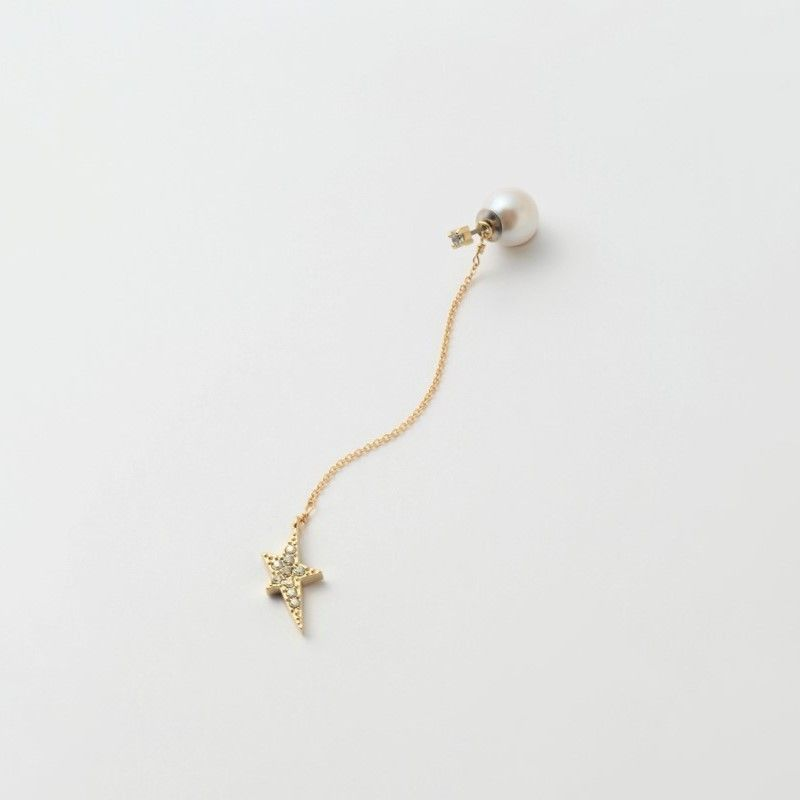 2way star chain pierce(1cubiczirconia/swarovski element/9mm pearl catch)