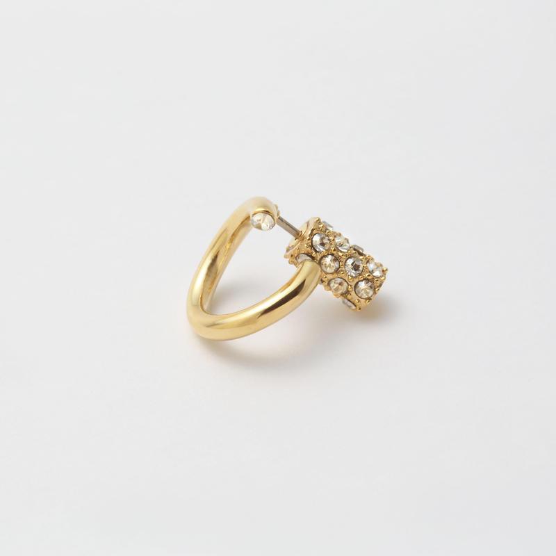 Gold line pierce(8㎜ line/Front type/swarovski elements/Gold catch)