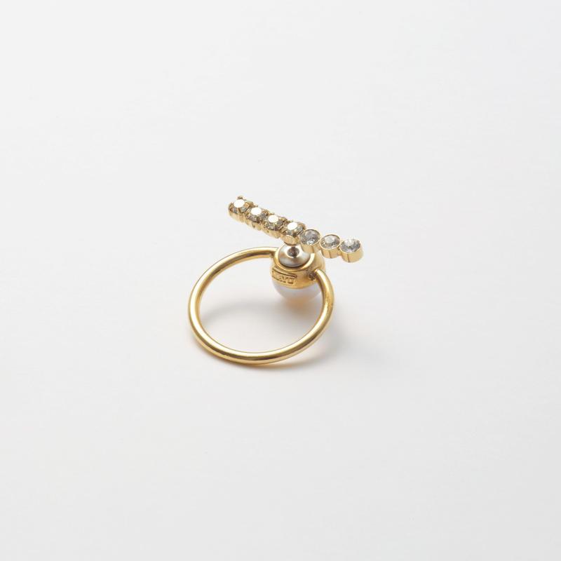 hoop catch pierce(7 Swarovski elements/24mm hoop/gold)