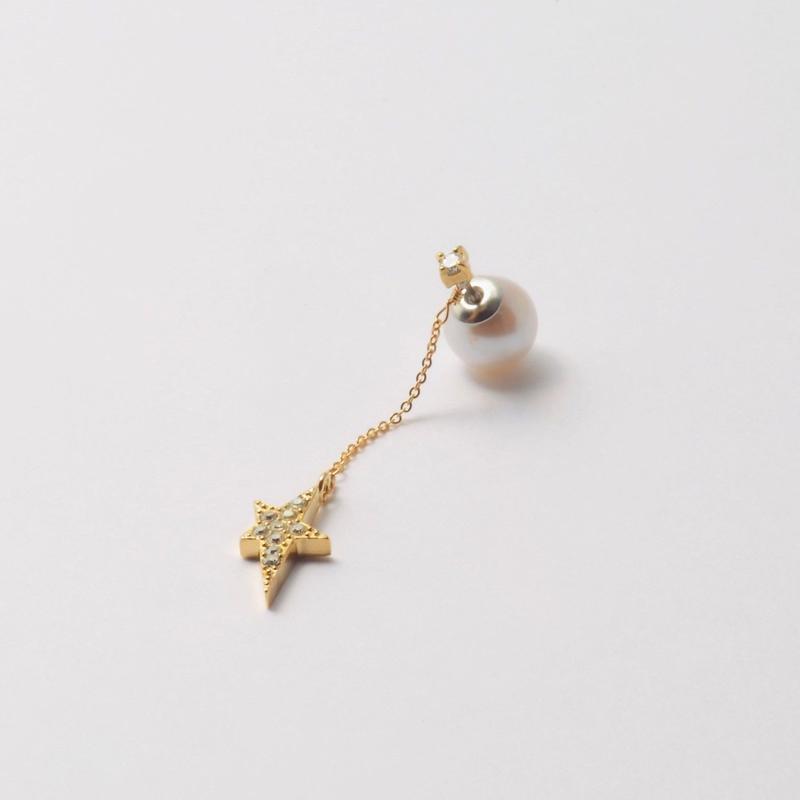 2way star chain short pierce(1cubiczirconia/swarovski element/9mm pearl catch)