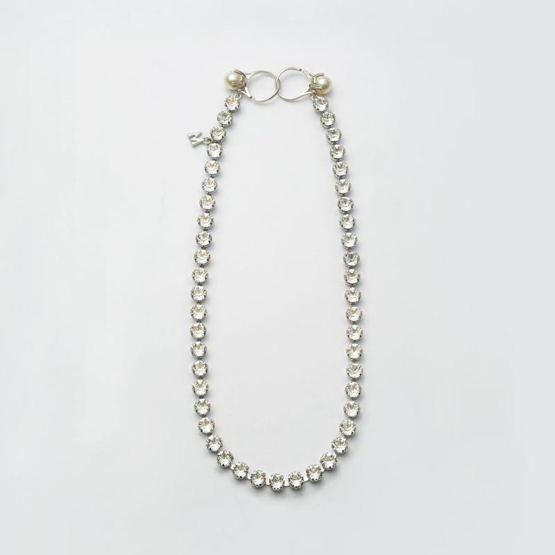 swarovski cut glass necklace (silver)