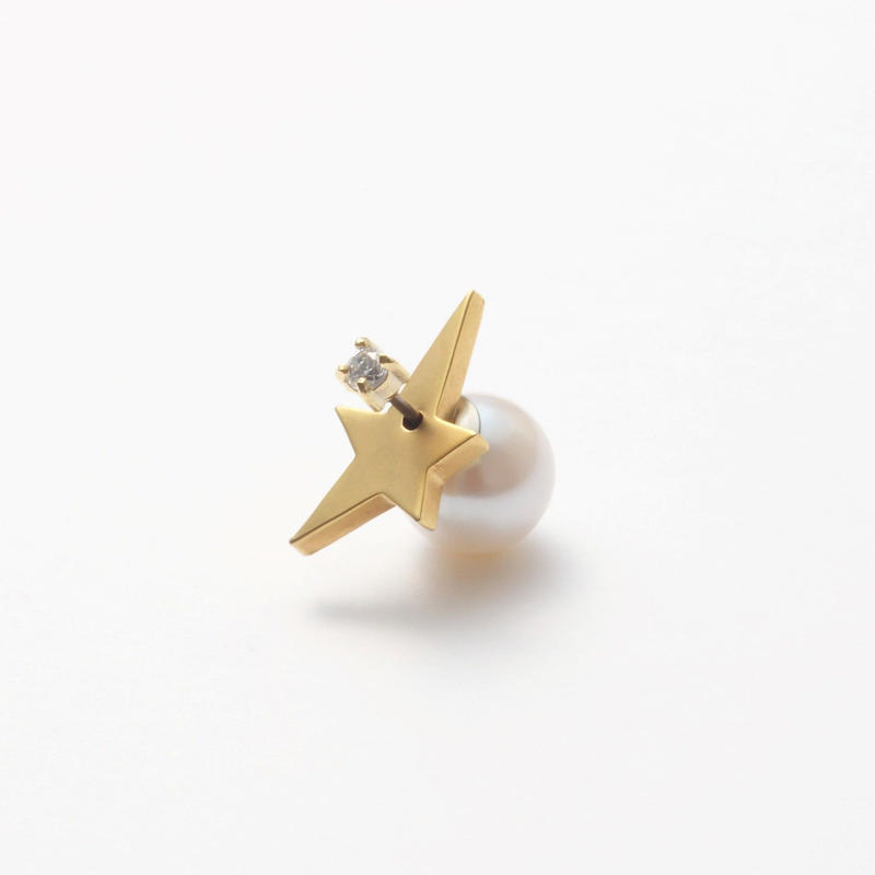 2way star pierce (front type/cubic zirconia/9mm pearl catch)