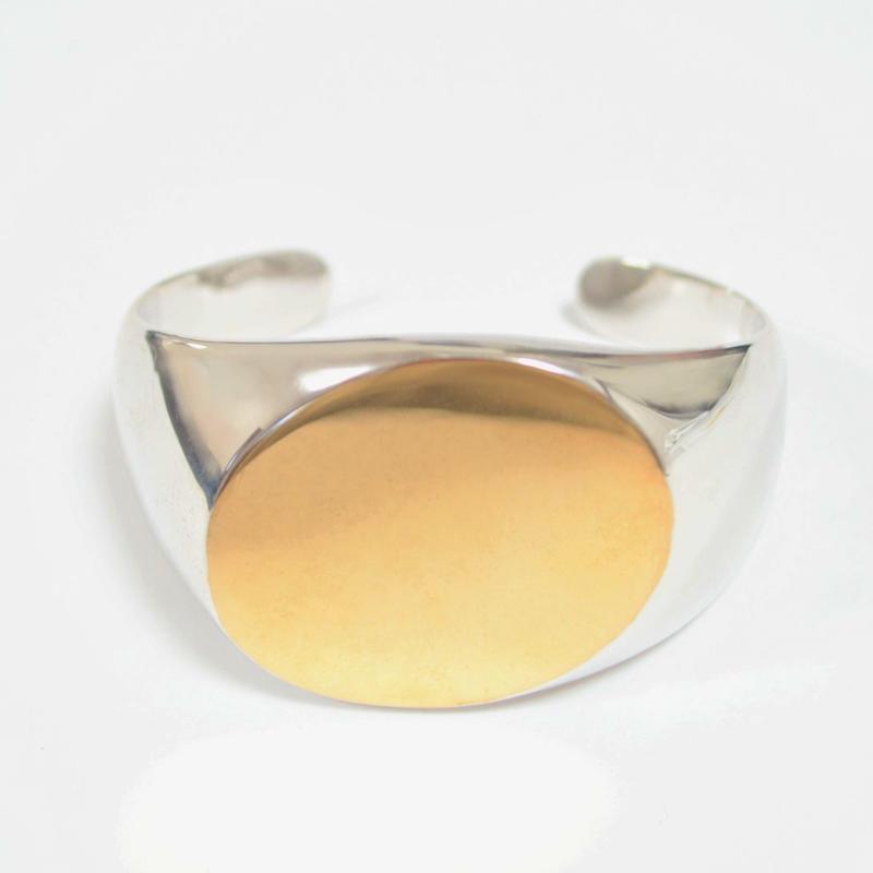 【ORDER】bicolor signet bangle (diagonal / gold / silver / silver925)
