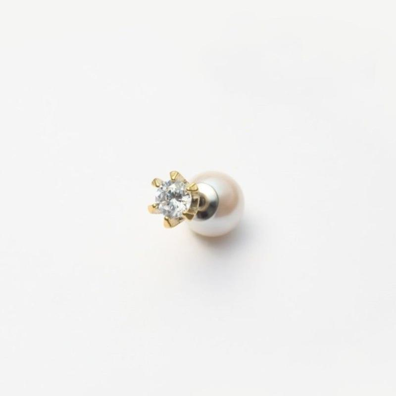 cubic zirconia pierce (small / gold)