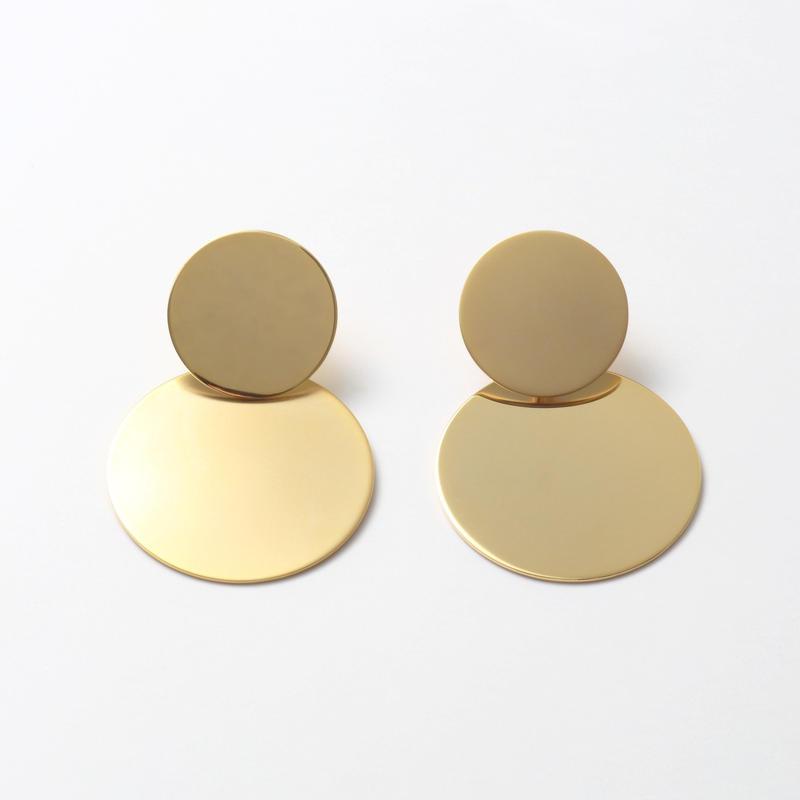 big circle set pierce(mat gold/shine gold)