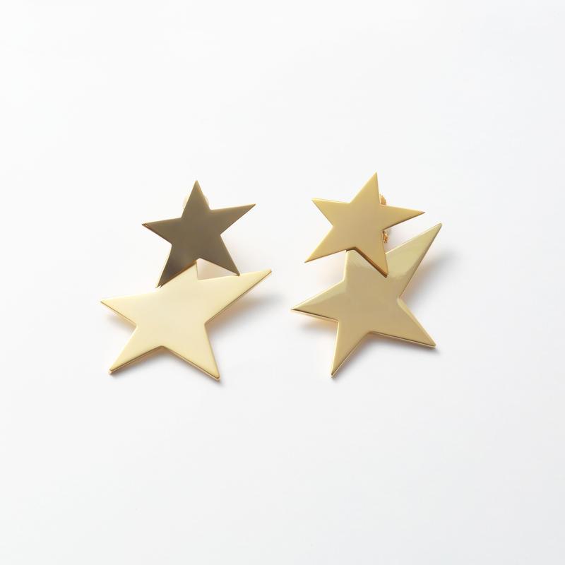 big star set earring (mat gold/shine gold)