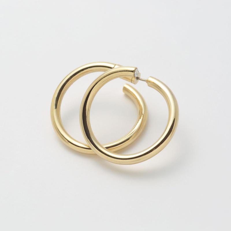 Gold line pierce(30㎜ line×30㎜ line/swarovski elements/Gold)