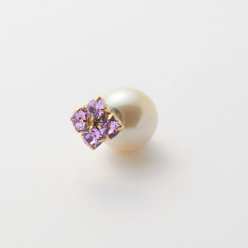 bijoux pierce ( 4crystals / violet / star back)