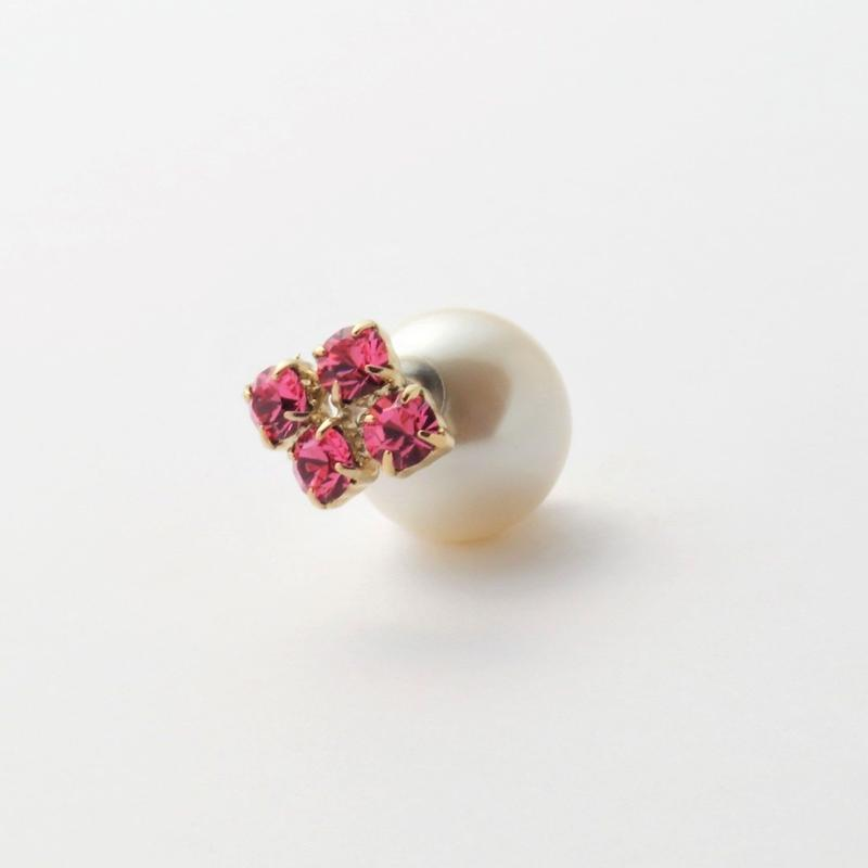 bijoux pierce ( 4crystals / pink / star back)