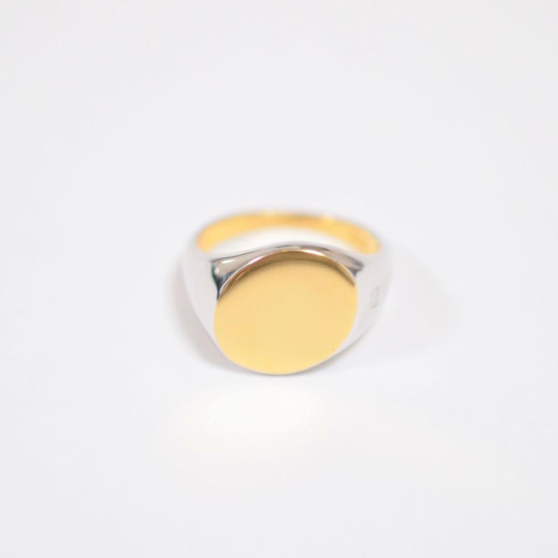 bicolor signet ring (diagonal / gold / silver / silver925)