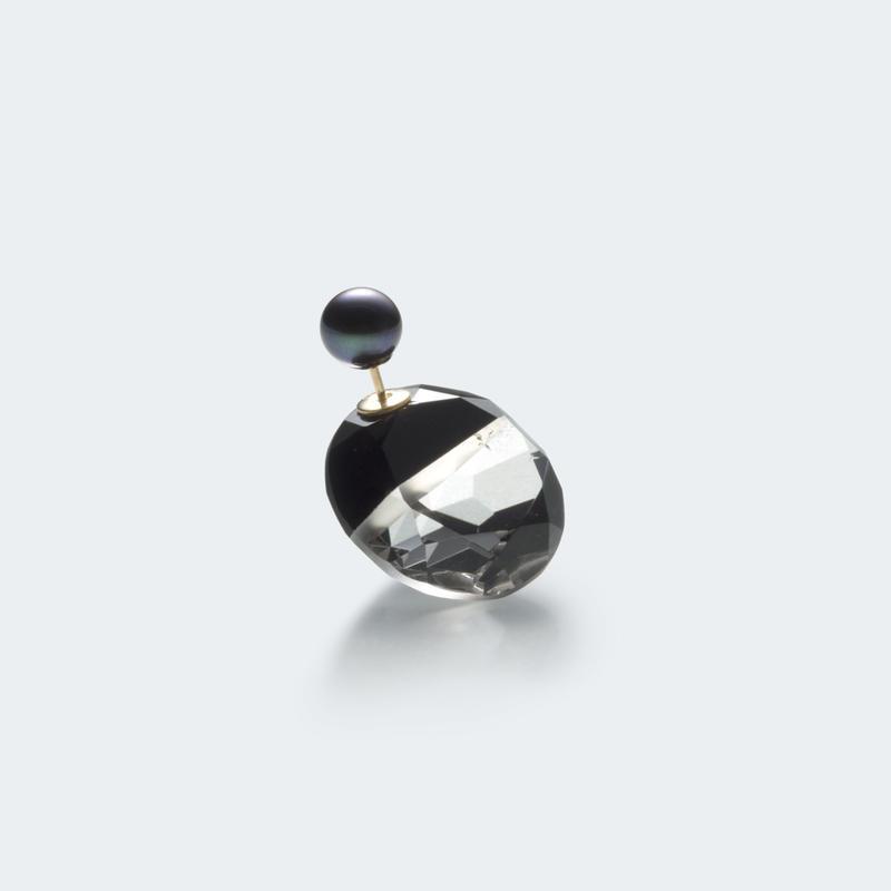 semi precious stone pierce (round / black)