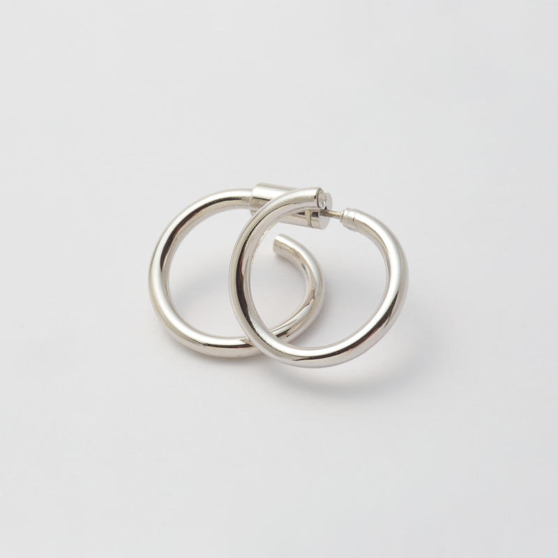 Silver line pierce(19㎜ line×19㎜ line/swarovski elements/Silver)