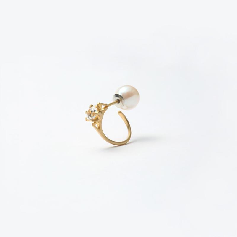 ring motif pierce (cubic zirconia / cubic / gold)