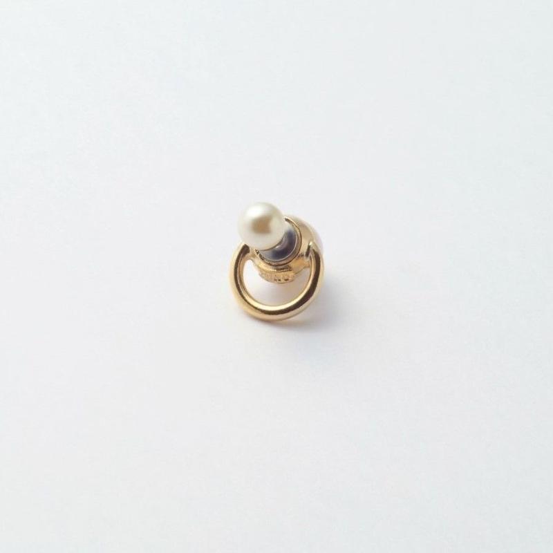 hoop catch pierce(6㎜ white pearl×12mm hoop/gold)