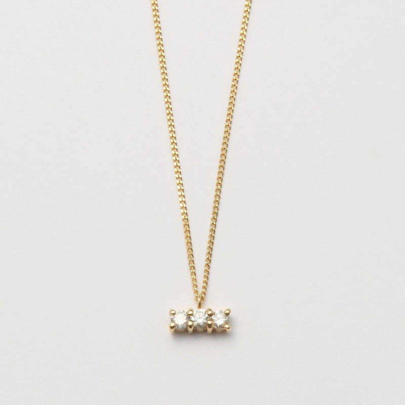 3 diamonds necklace (K10/horizontal)