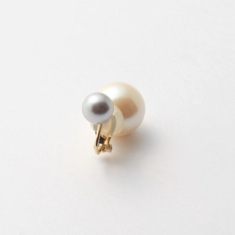 basic pearl rivets earring(light gray / white)