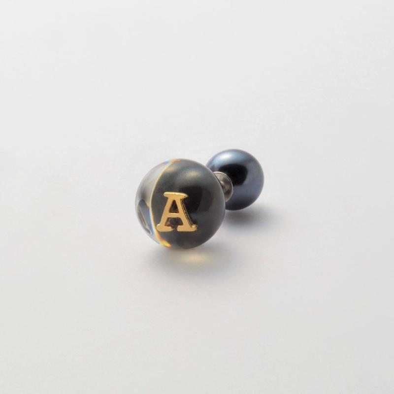 "Initial pierce black ""A"""