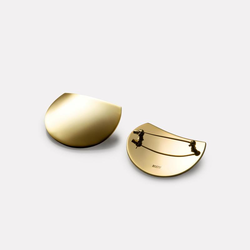 moon broach (40mm three quarter moon/ mirror gold)