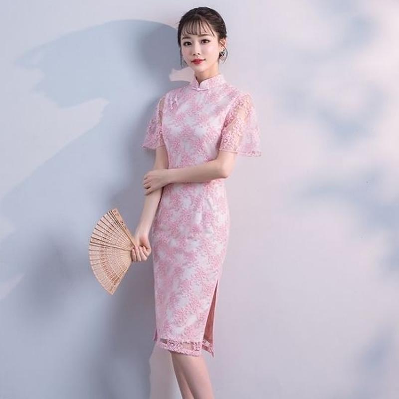 チャイナドレス 花柄刺繍 透け袖 スリット セクシー ワンピース FS066901