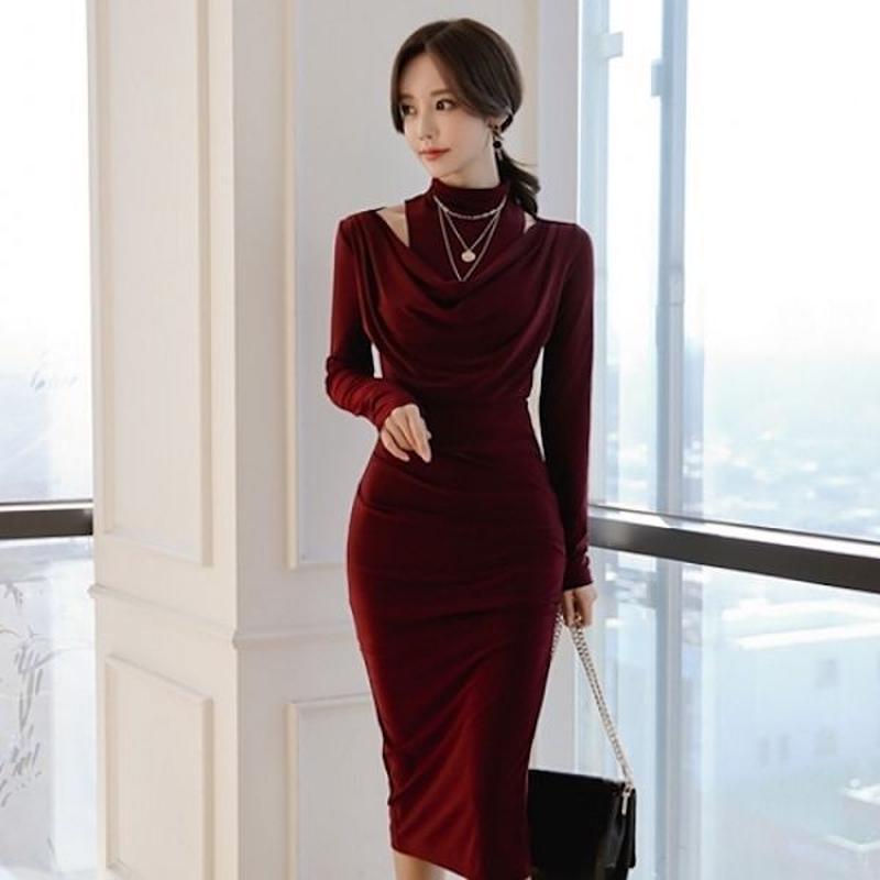 パーティードレス 韓国ワンピース ハイネック スリム ワインレッド 大人女子 FS102501
