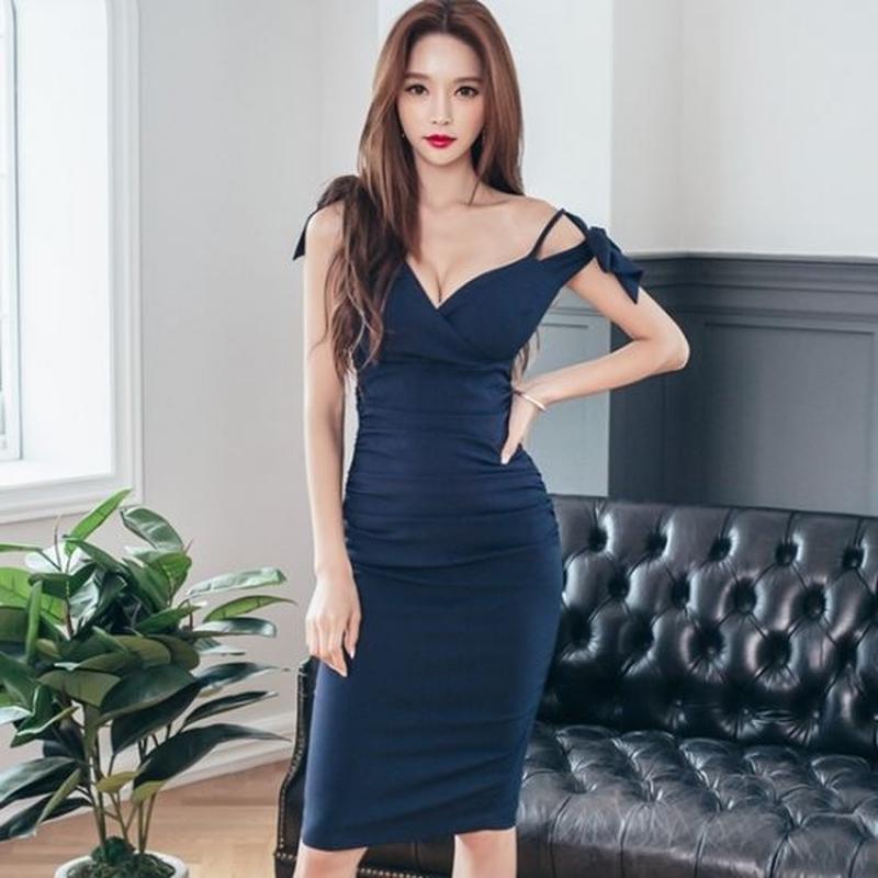 韓国ドレス ワンピース Vネック 肩リボン カシュクール Aライン ネイビー FS009901