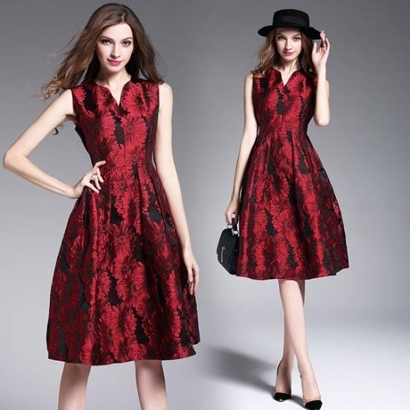 韓国ドレス 韓国ワンピ パーティー ミニワンピ ノースリーブ 赤 レッド Vネック FS009401