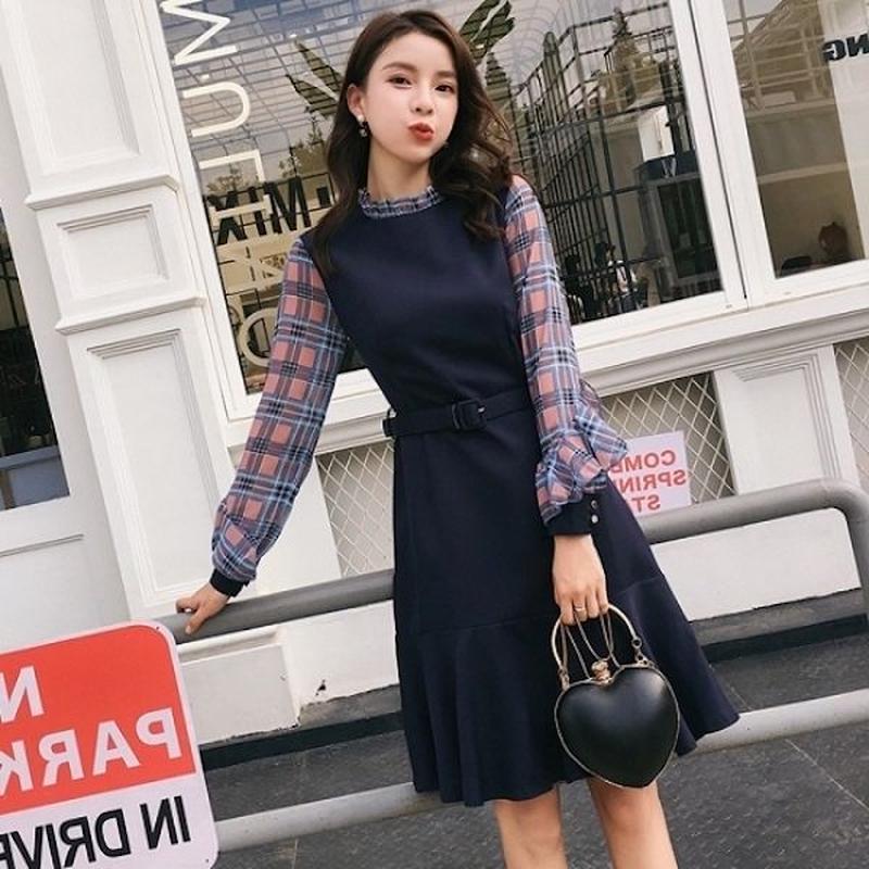 韓国ドレス 韓国ワンピース チェック柄 袖 可愛い フレアスカート 素的 FS106701