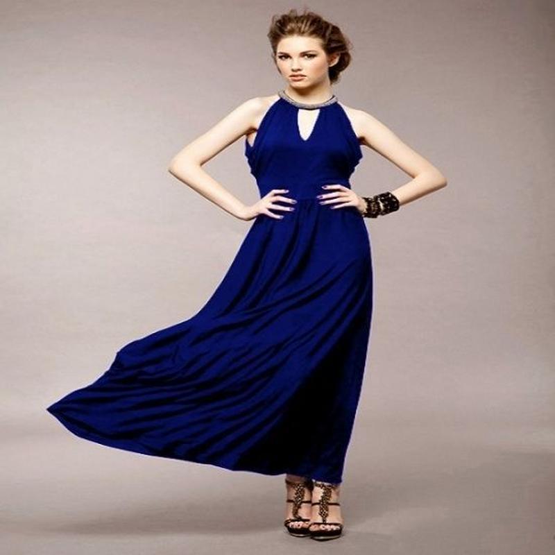 パーティードレス マキシワンピース ロングドレス 無地 バックレス 結婚式 二次会 青 ブルー FS017101