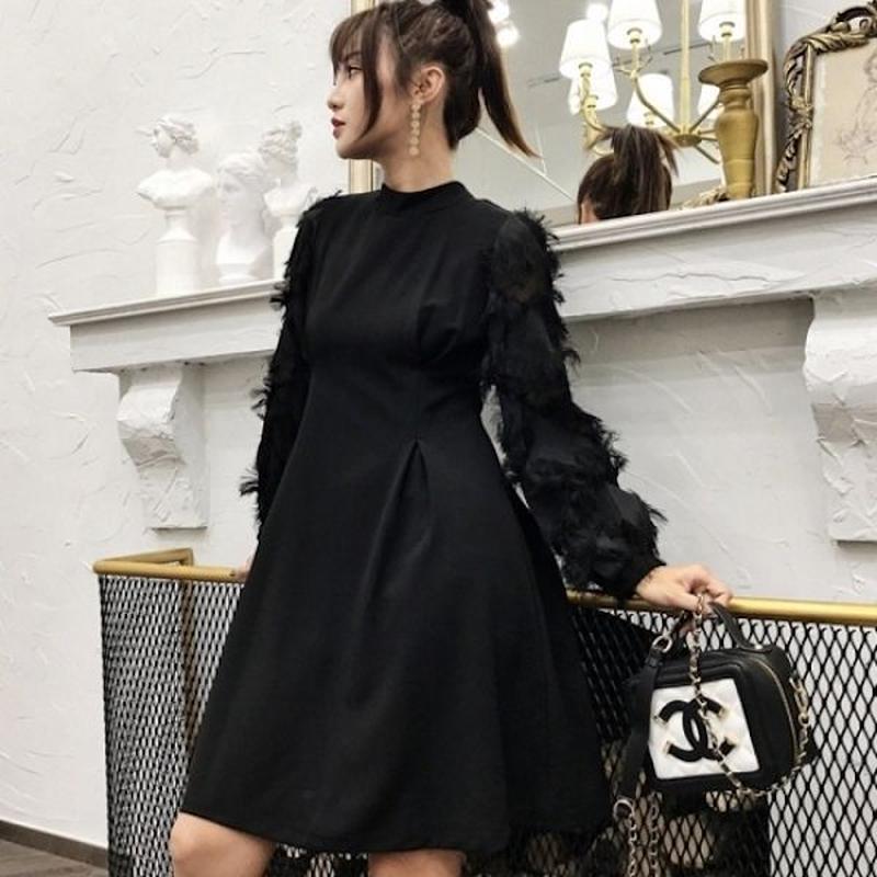 韓国ドレス 韓国ワンピース フリンジ 個性的 黒 ナイトシーン 食事会 FS108001