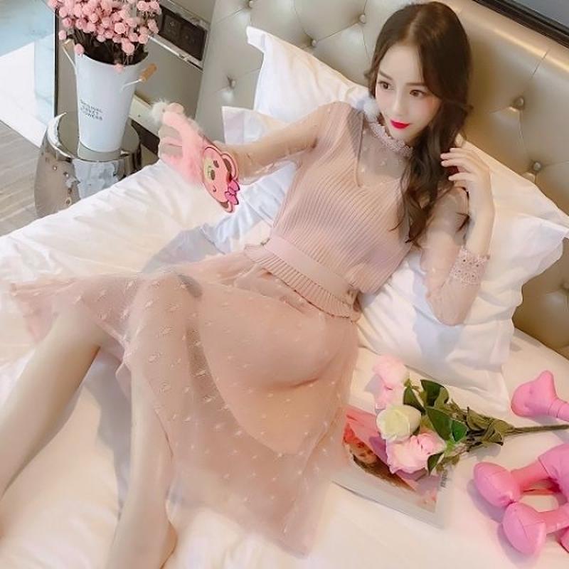 ガーリー ワンピース 韓国ワンピース 花柄レース シフォン お出かけ デート FS096501