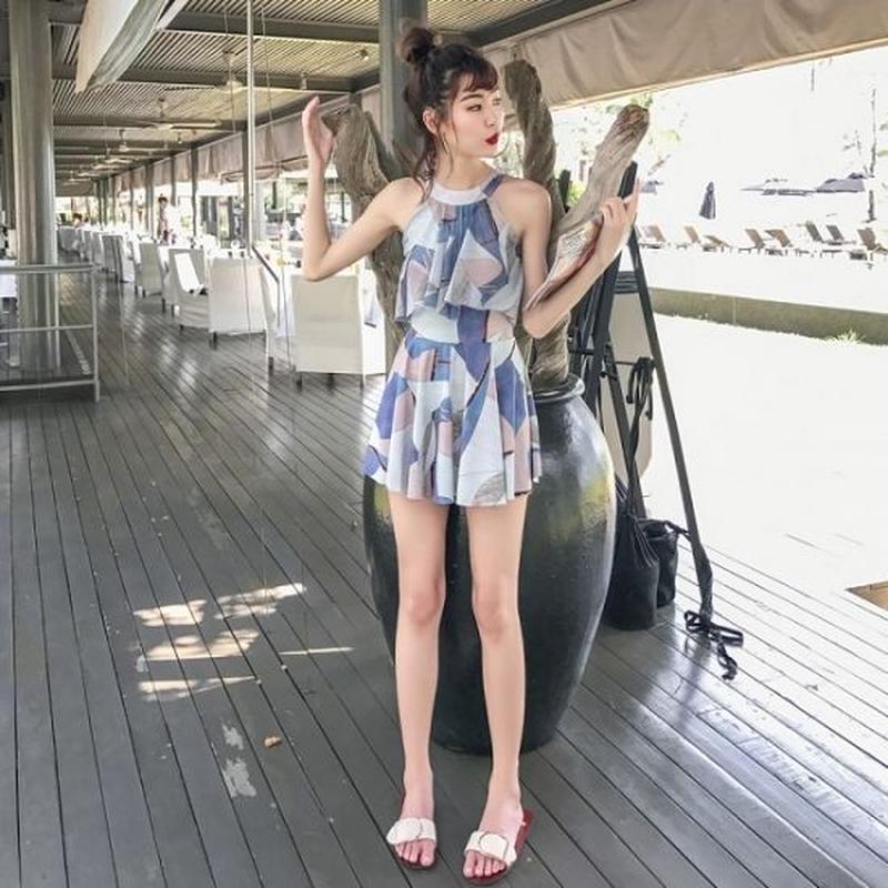 ワンピース水着 パッチワーク柄 ホルターネック レディースビキニ 夏 海 旅行 FS056001