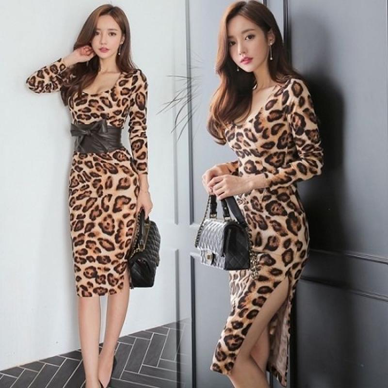 レオパードドレス 韓国ワンピース ウエストリボン 可愛い スリム セクシー FS107001