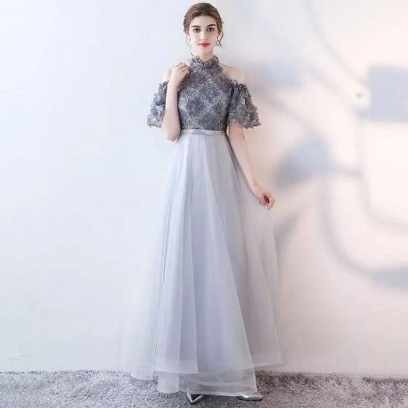 ロングドレス 韓国ワンピース 花柄モチーフ ハイネック パーティー お呼ばれ FS067801