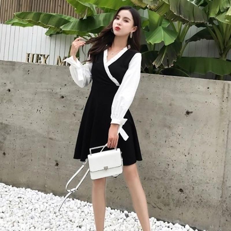 韓国ワンピース モノトーン柄 カシュクールデザイン バイカラー 胸元フリル 可愛い FS103901